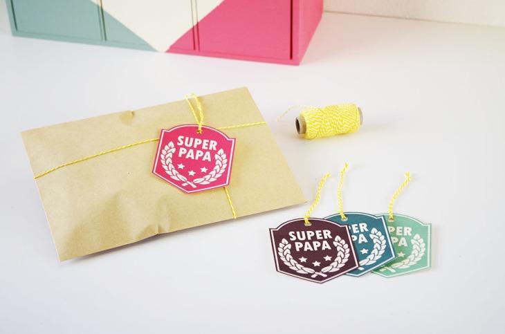 Free printable etiquettes Super Papa trois etoiles